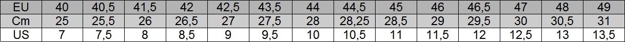 Asics tabela rozmiarów męska