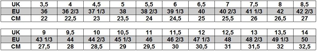 Tabela rozmiarów Salomon