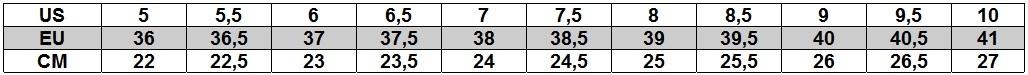 TNF Tabela rozmiarów damska