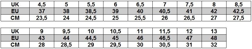 Mizuno tabela rozmiarów